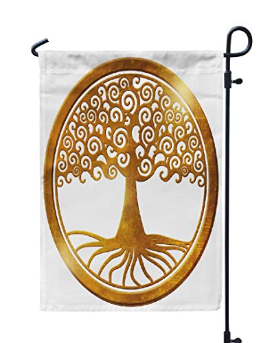 - Soopat Life Tree Seasonal Flag, World Tree Life Tree Wheel Gold Medallion Earth Gold Weatherproof Double Stitched Outdoor Decorative Flags for Garden Yard 12''L x 18''W Welcome Garden Flag