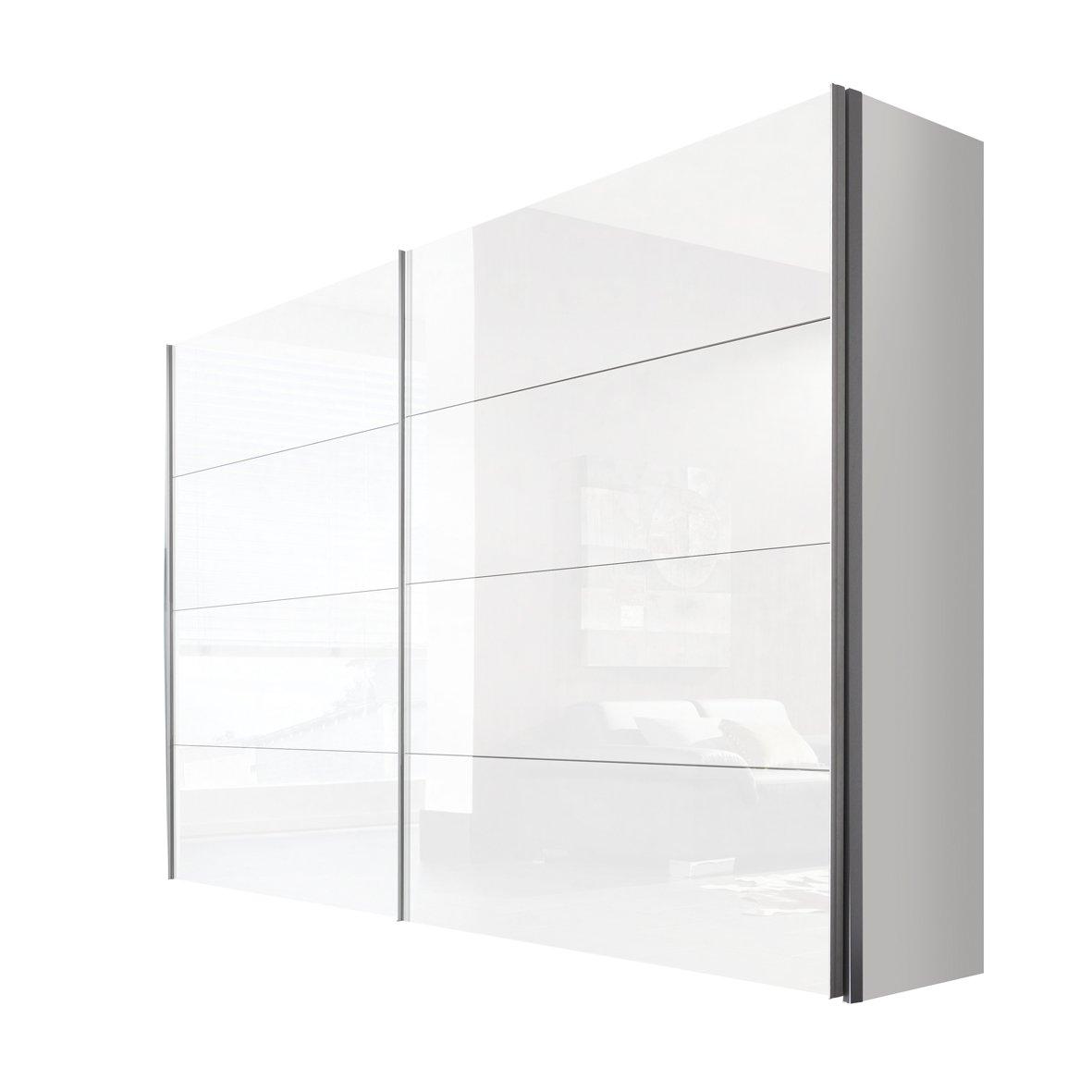 Solutions 47560-203 Schwebetürenschrank 2-türig, Korpus polarweiß, Front lack weiß, Griffleisten alufarben, 68 x 300 x 216 cm