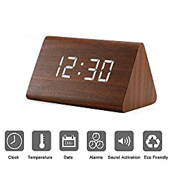 Modern Triangle Wood LED Wooden Alarm Digital Desk Clock with Date and Temperature Sound Control Desk Alarm Clock for Kids Bedroom, Home, Office-Brown