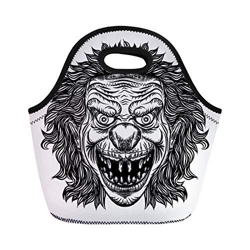 Semtomn Lunch Bags Black Creepy Evil Scary Clown Monster Big Nose Neoprene Lunch Bag Lunchbox Tote Bag Portable Picnic Bag Cooler Bag ()
