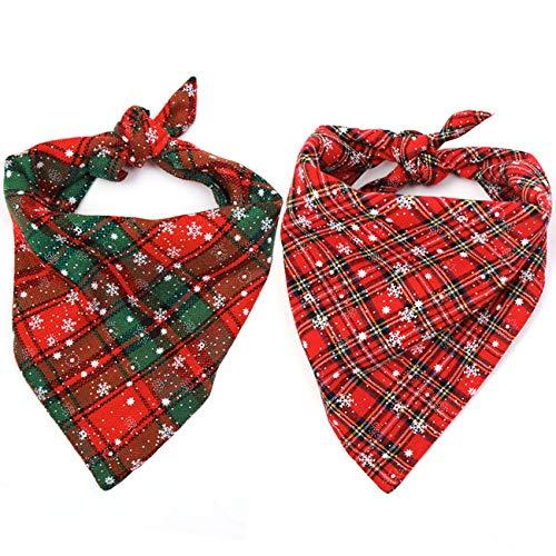 (Malier 2 Pack Dog Bandana Christmas Buffalo Plaid Snowflake Pet Scarf Triangle Bibs Kerchief Set Pet Costume Accessories Decoration for Small Medium Large Dogs Cats Pets )