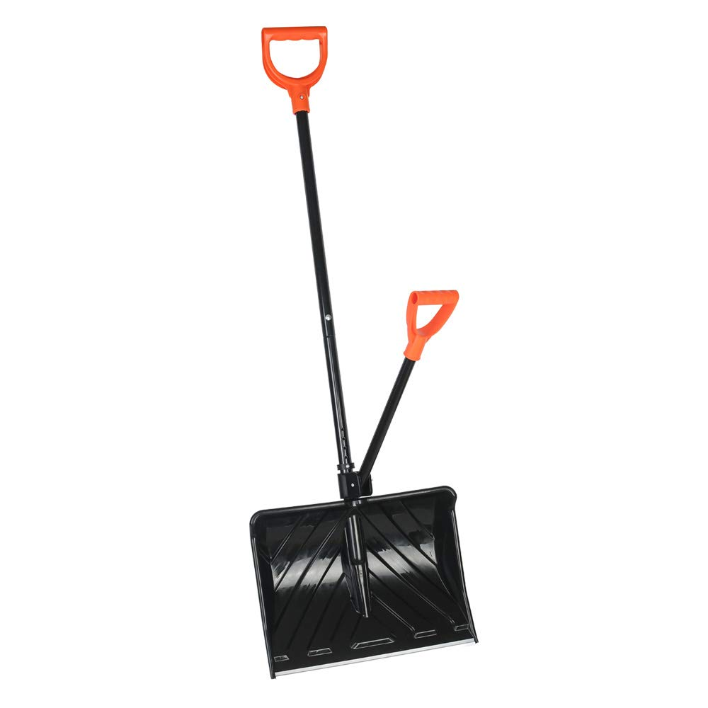 U-Eway Snow Shovel, Snow Pusher,Wide 18-inch Shovel Blade, Aluminum Wear Strip,Ergonomic Handles, One Adjustable Assisted Handle by U-Eway