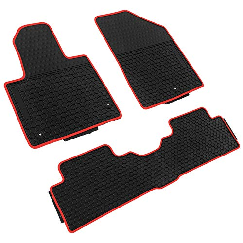 (iallauto Compatible for Hyundai Santa fe 2013-2018 Heavy Duty Rubber Front & Rear Floor Mats Liners Vehicle All Weather Guard Black Carpet)