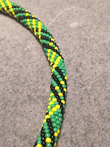 Necklace Green Black Yellow Beaded Bead Crochet Rope