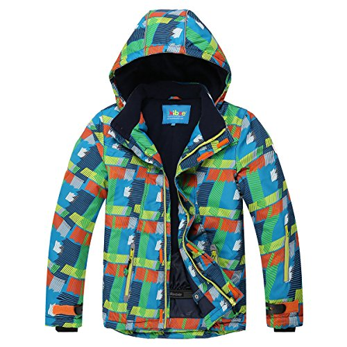Limited Snowboard Jacket (Phibee Big Boys' Outdoor Waterproof Fleece Warm Snowboard Ski Jacket Green Size 12)