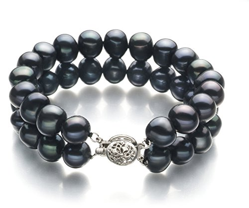 Black 8-9mm Double Strand A Quality Freshwater Cultured Pearl Bracelet-8 in length