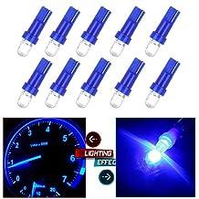CCIYU 20 Pack Blue 37 58 70 73 74 T5 Diode LED Chips Dashboard Panel Gauge Cigarette lighter Ashtray light Speedometer Odometer Tachometer Instrument Panel LED Wedge Bulbs w/ Twist Sockets