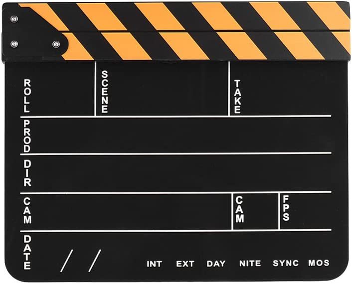 Andoer Dry Erase Acrylic Director Film Clapboard Movie TV Cut Action Scene Clapper Board Slate with Yellow//Black Stick Black