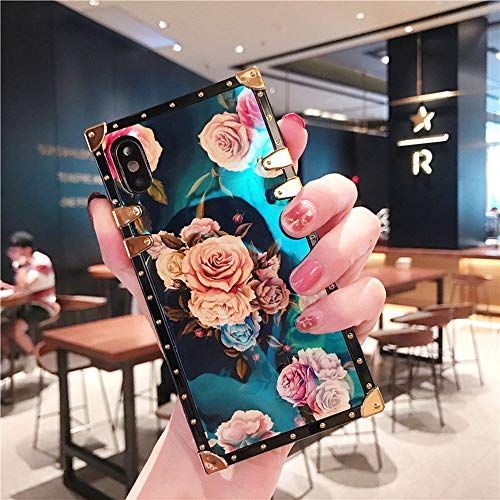 (Compatible for iPhone 7 Plus/iPhone 8 Plus case, BabeMall Elegant Premium Retro Color Blu - ray Scratch Proof Flower Square PU Leather Protective Metal Decoration Corner Back Cover Case -Flower 2)