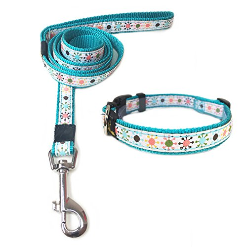 ANNIMOS Pet Dog Cat Collar & Leash Set Adjustable Collars