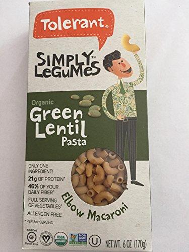 Tolerant Foods - Organic Green Lentil Pasta – Simply Legumes – Shells - Pack of 6 – 6 Oz Each
