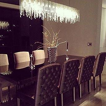 siljoy modern rectangular raindrop crystal pendant lights linear chandeliers for dining room living room kitchen island - Rectangular Pendant Light Dining