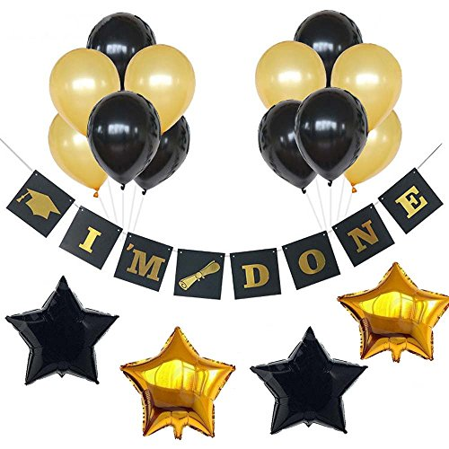 (I'M Done Banner Decorations-2018 Graduation Party Supplies –Classy Graduation Banner Gift for Graduations Decorations and Grad Party Decor for College,High School and Proms,Black and Gold)