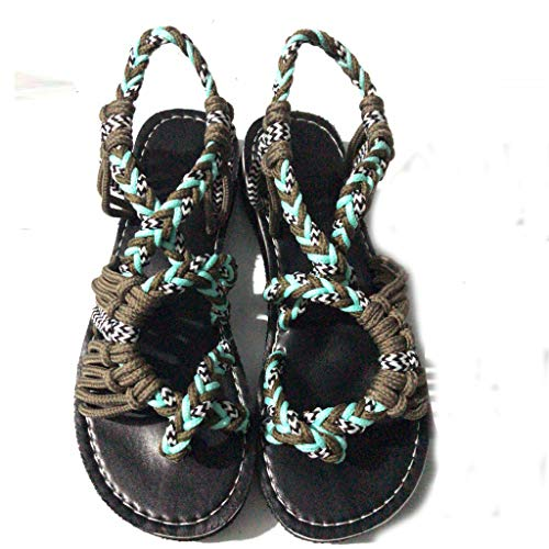 Price comparison product image SSYUNO Flat Sandals for Women Palm Leaf Summer Comfort Elastic Strap Boho Comfort Beach Flats Sandals 2019 Beige