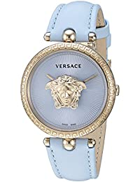 Women s  Palazzo Empire  Quartz Stainless Steel and Leather Watch,  Color Blue (. Versace f301614edfa