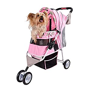ibiyaya Dog Stroller – Matte Edition Diagonal Stripes Pet Stroller – The Ultimate Fashion Accessory for Dogs (Sugar Pink)