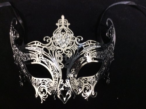 Mardi Gras Mask Design (Luxury Silver Queen Masquerade Mask Venetian Design Masks Silver Colored Perfect for Mardi Gras Majestic Party Halloween Ball Prom by Unknown)
