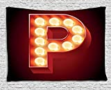 XHFITCLtd Letter P Tapestry, Vibrant P Letter Party Theater Name Initials Club Show Business Theme, Wall Hanging for Bedroom Living Room Dorm, 80 W X 60 L Inches, Vermilion Yellow Black