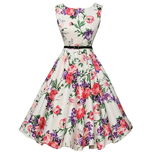 Women Flower Ruffle Sleeveless Evening Party Prom Formal Swing Dress Plus Size (M, (Neck Chain Adapter)