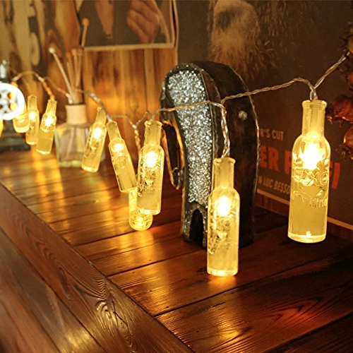 WAYNEWON LED Wine Bottles Lights, Battery Operated String Lights with Remote Control - Best Wedding Party Home Christmas Decorations (Warm White Glow) ()