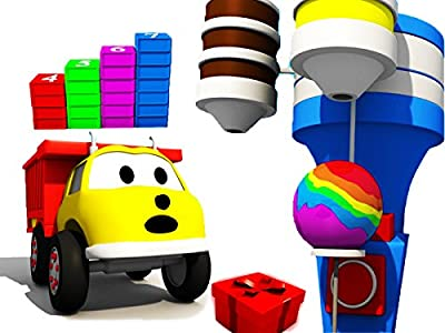 Learn numbers and colors with Ethan The Dump Truck: Building stairs / the Giant Lollipop