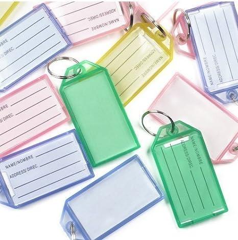 50pcs identificador llaves de multicolor de llavero pl/ástico de etiquetas de etiquetado en blanco con dos herramientas