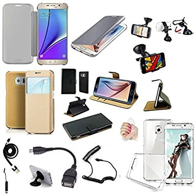 29f464364e MP4 Telecom Samsung Galaxy S6 Edge Plus, 10 Accessories Case Cover Charger  Bracket Cable: Amazon.co.uk: Electronics