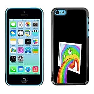 iPhone 5C - Metal de aluminio y de plástico duro Caja del teléfono - Negro - Funny Abstract Pop Art Rainbow