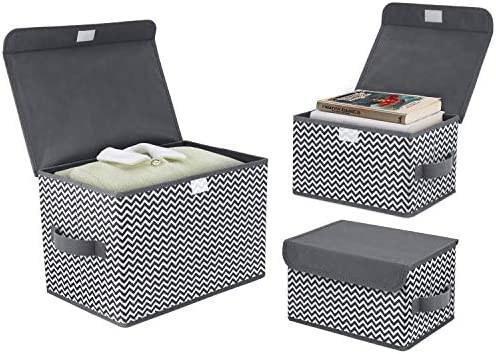 DIMJ 3Pcs Fabric Storage Bins & Storage Box with Flip-top Lid, Collapsible Large Basket Boxes for Books, Clothes, Toys Cubes, Home Bedroom Closet Office Organiser (Dark gray)