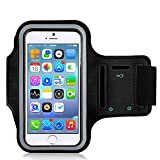 iPhone 6 Plus Armband - LEMEGO Water Resistant Key Holder for iPhone 6S Plus (5.5 Inch) Galaxy S7/S6/S5/Note 4 Bundle Screen Protector Running Exercise - Black
