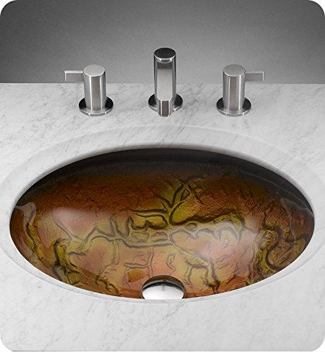 Undermount Oval Glass Vessel Bathroom Sink Sink Finish: Tempered Amber Glass