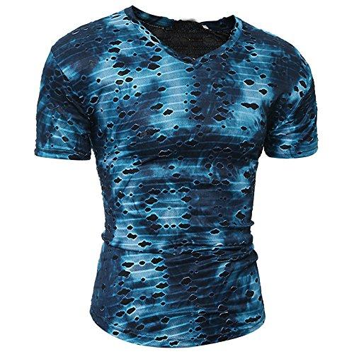 - iZHH Fashion Mens Slim Printed Short Sleeve T Shirt Top Personality Blouse(B-Blue,2XL)
