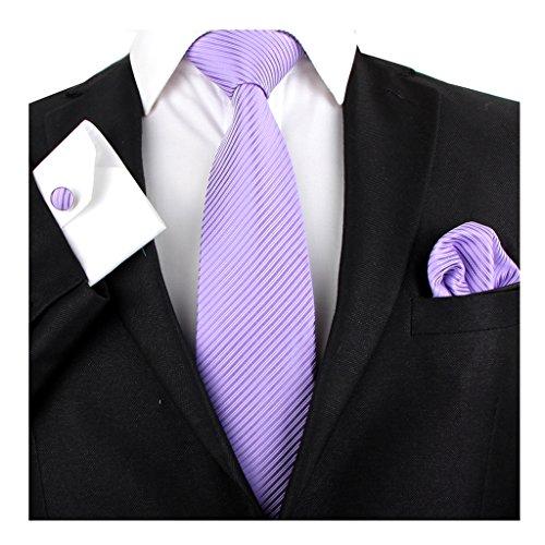 Stylefad Men's Tie Set Solid Color Striped Necktie Pocket Square and Cufflinks (purple) (Purple Square Cufflinks)