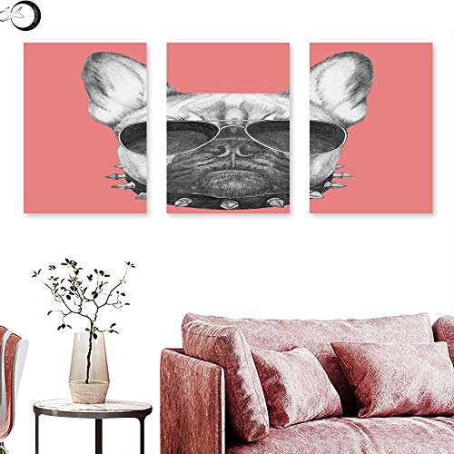 J Chief Sky Bulldog Home Decor Hand Drawn Style Dog Portrait with Collar and Sunglasses on Pink Backdrop Triptych Photo Frame Black Grey and Pink Triptych Art Canvas W 12