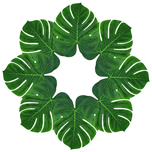 Soyee 48pcs Tropical Large Palm Leaves, DIY Waterproof Artificial Leaf Placemats and Table Runners for Hawaiian Luau Party Decoration, Jungle Party -