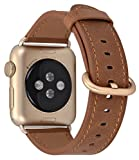 JSGJMY Compatible Apple Watch Band 38mm Women Caramel Vintage Genuine Leather Loop Replacement Iwatch Strap Gold Metal Clasp Compatible Apple Watch Series 2/1 Gold Aluminium