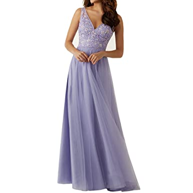 Amazon.com: SuperKimJo Floral Lace Prom Dresses V Neck Elegant Long Formal Dresses Purple: Clothing