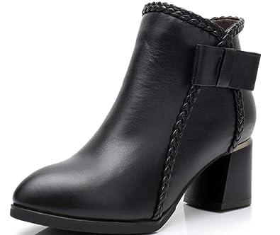 Shiney Botas para Mujer Botines De Tacón Grueso De Cuero Y Terciopelo Cálido Martin Boots Bow Negro Otoño Invierno: Amazon.es: Zapatos y complementos