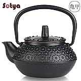 Sotya Cast Iron teapot Japanese tetsubin Iron Tea Kettle Stainless Steel Infuser 0.3L/10oz Black Retro Small Tea Pot Enamel