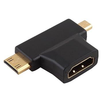 fe387825bd671 Adaptador Conector HDMI Hembra a Mini HDMI Macho y Micro HDMI Macho   Amazon.es  Electrónica
