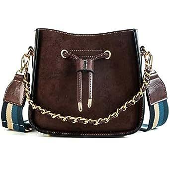 TOOGOO Ladies Bucket Bag Retro Pu Leather Shoulder Bag Simple Chain Messenger Bag Letter Handbag New Chic Bag Brown