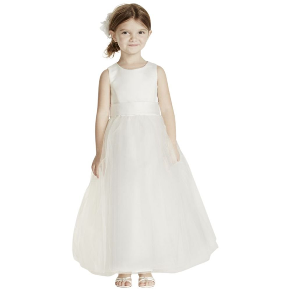 1547d133c Amazon.com: David's Bridal Sleeveless Satin Flower Girl/Communion Dress  with Full Skirt Style S1038: Clothing