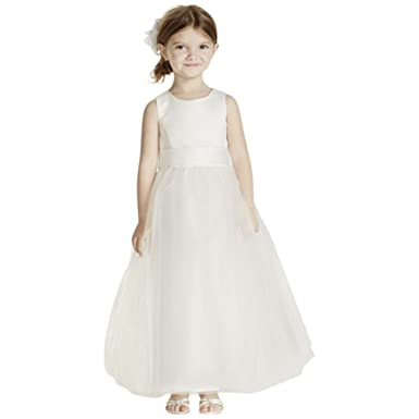 6a9f13979da Amazon.com  Satin Flower Girl Communion Dress with Tulle Skirt Style ...