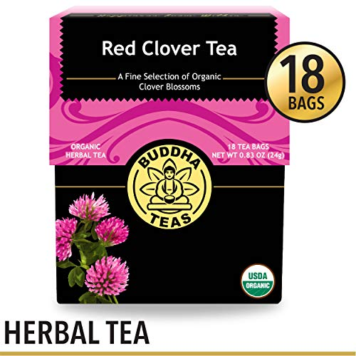 Red Clover Dried Blossoms - Organic Red Clover Tea, 18 Bleach- Free Tea Bags - Caffeine Free, Source of Antioxidants, Vitamins, and Nutrients, Relieves Menopause Symptoms, and Supports Healthy Cholesterol Levels, No GMOs