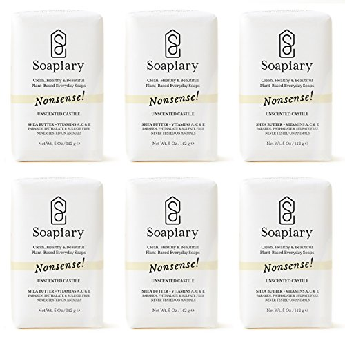 Soapiary Luxury Triple Milled Soap Bar - Natural Vegan Plant-Based Hypoallergenic Bath Soaps - Nonsense! Fragrance Free Castile Soap, 6 Pack