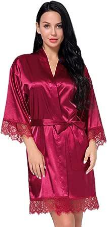 Women's Satin Silk Robe in Lace Stitching Sexy V-Necked Pajamas Kimono Nightgown Bridesmaids Sleepwear