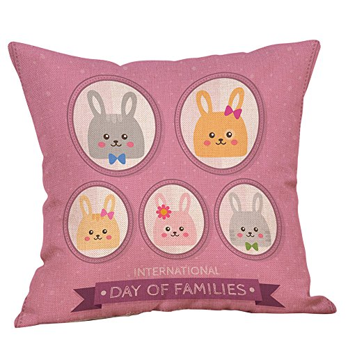 - IAMUP Easter Cotton Square Rabbit Throw Pillow Case Waist Cushion Cover Home Cute Decor