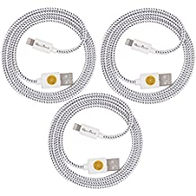 iPhone 7 Charging Cable, Pack of 3 1M/3FT Nylon Braided Sync and Charge USB to Lightning Cable Charger Cord for iPhone 7/7Plus, iPhone 6/6s,iPhone 6/6 Plus,iPhone 5/5s, iOS Devices (White)