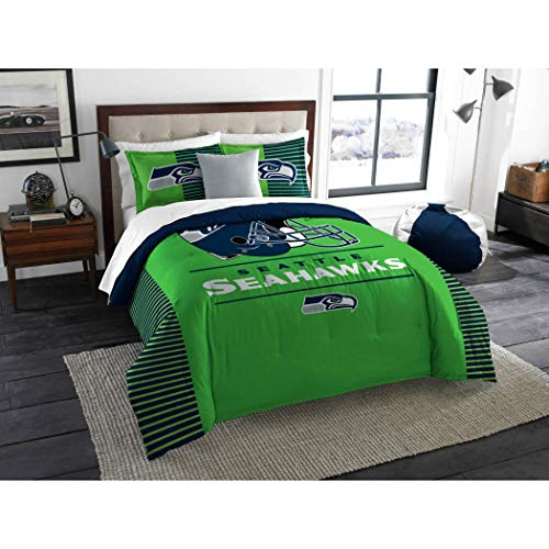 3 Piece NFL Seahawks Comforter Full Queen Set, Green Blue Multi Football Themed Bedding Sports Patterned, Team Logo Fan Merchandise Athletic Team Spirit Fan, Polyester, for - Queen Bedding Nfl Comforter Football