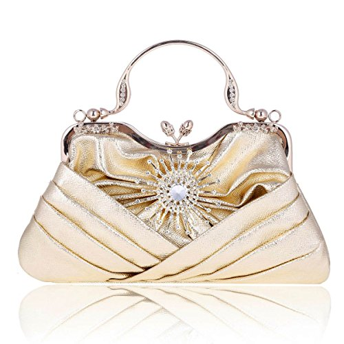 Sunflower Pleated Womens Front Damara Pale Gold Bag Tote Evening Crystal 5wgxxndqIB